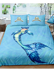 cheap -Mermaid Print 3-Piece Duvet Cover Set Hotel Bedding Sets Comforter Cover with Soft Lightweight Microfiber, Include 1 Duvet Cover, 2 Pillowcases for Double/Queen/King(1 Pillowcase for Twin/Single)