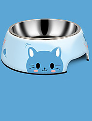 cheap -Cat Dog Bowls & Water Bottles Stainless Steel Waterproof Solid Colored Blue Pink Green Bowls & Feeding