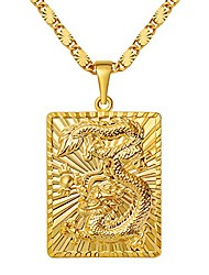 cheap -MASARWA Mens 24K Yellow Gold gf Dragon Pendants Necklace Chain Jewellery 60cm