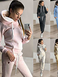cheap -Women's Sweatsuit 2 Piece Set Drawstring Loose Fit Hoodie Solid Color Sport Athleisure Hoodie Outfits Clothing Suit Long Sleeve Soft Comfortable Everyday Use Casual Daily / Winter / 2pcs / pack