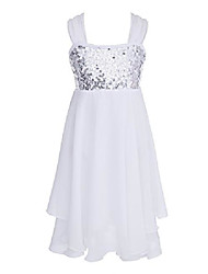 cheap -Kids Girls Adjustable Shoulder Straps Shiny Sequins Chiffon Ballet Dance Gymnastic Leotard Dress, White, 13 / 14