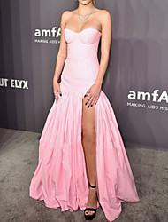 cheap -A-Line Celebrity Style Sexy Engagement Formal Evening Dress Sweetheart Neckline Sleeveless Floor Length Taffeta with Pleats Split 2021
