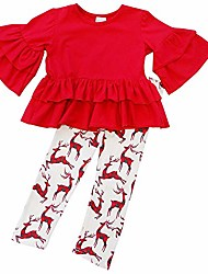 cheap -toddler girls 2 pc christmas ruffle pant tunic top holiday novelty outfit (xxs (12-18 months), bestie rudolph)