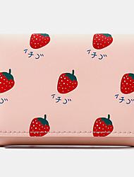 cheap -women 7 card slots trifold fruit printed wallet