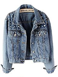 cheap -Damen Jeansjacke Übergangsjacke Leichte Jacke Denim Casual mit Perle (EU M=Asia XL)