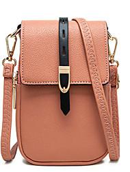 cheap -Women's Bags PU Leather Mobile Phone Bag Buttons Zipper Plain 2021 Daily Going out Black Purple Orange Camel