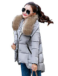 cheap -Women's Winter Irregular Fur Collar Loose Down Parka Coat UK Size 8-16 (UK 10, Grey)