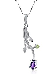 cheap -Petite Natural African Amethyst and Peridot Silver Vine Leaf Pendant with 18 Inch Chain Necklace