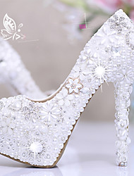 cheap -Women's Wedding Shoes Platform Round Toe Wedding Pumps Vintage Sexy Roman Shoes Wedding Party & Evening PU Rhinestone Pearl Sparkling Glitter Solid Colored Color Block White