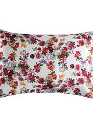 cheap -2PCS Pillowcase Floral Print Silky Satin Standard Size Luxury Satin Pillowcase for Hair and Skin with Zipper Closure