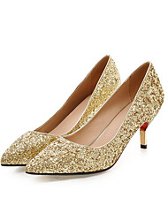 cheap -Women's Heels Glitter Crystal Sequined Jeweled Low Heel Daily Denim White Black Gold