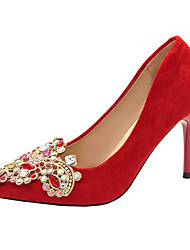 cheap -Women's Wedding Shoes Pumps Pointed Toe Casual Daily Walking Shoes Suede Crystal Solid Colored Red