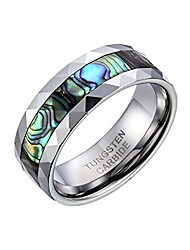cheap -8mm Abalone Shell Inlay Mens Multi-Faceted Tungsten Carbide Wedding Engagement Band Ring- Comes in Gift Bag - (Available in Most Sizes): UK Size - N