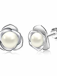 cheap -Surpown Novelty Earrings Studs For Women & Girls, Sterling Silver Studs Earrings Cubic 5A Zirconia Pearls for Festival Gift, Rose, Cat,Clover, Lover styles options