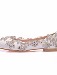 cheap -Women's Wedding Shoes Flat Heel Pointed Toe Wedding Flats Vintage Sexy Minimalism Wedding Party & Evening PU Rhinestone Crystal Sparkling Glitter Solid Colored Silver