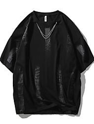 cheap -Men's T shirt Other Prints Graphic Prints Graffiti Print Short Sleeve Daily Tops 100% Cotton Casual Beach White Black