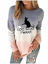 cheap -Women Plus Size I Do What I Want Letter Printed Cat Sweatshirt Women Tie Dyed Colour Gradient Pullover Sweatshirts Cat Lover Cute Girls Casual Tops Blouse (Blue, 12)