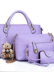 cheap -women 4pcs top handle satchel hobo pu leather handbag set large tote + purse + shoulder bag + card holder brown (brown)