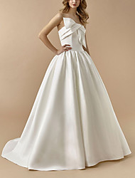 cheap -A-Line Wedding Dresses Strapless Floor Length Satin Sleeveless Simple with Bow(s) 2021