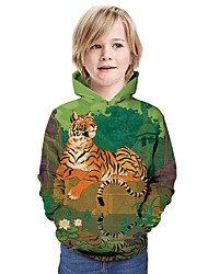 cheap -Kids Boys' Active Tiger Graphic 3D Animal Print Long Sleeve Hoodie & Sweatshirt Green