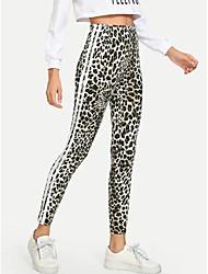 cheap -Women's Sports Leggings Sweatpants Pants Leopard Full Length Print Rainbow