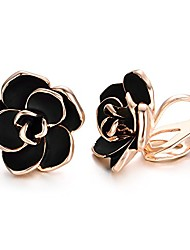 cheap -clip earrings for women black rose flower gold plated earring enamel