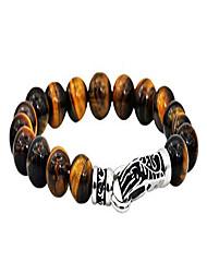 cheap -Men's Genuine Gemstone Stainless Steel Bead Bracelet - Black Stainless Steel Detailed Clasp (Brown (Tiger Eye))