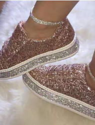 cheap -women glitter fashion lace up party casual shoes flats