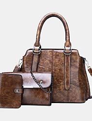 cheap -women 3pcs solid multi-function handbag crossbody bag