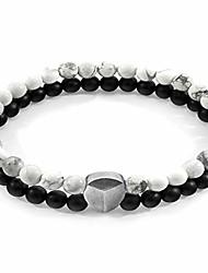 cheap -White Howlite Iguazu Silver and Stone Bracelet - Mens - 23cm