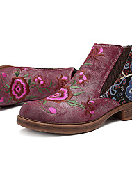 cheap -socofy embroidery flower splicing leather ankle boots