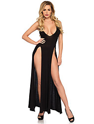 cheap -Women's Normal Backless Mesh Super Sexy Chemises & Gowns Dresses&Skirts Undergarments Lingerie - Spandex Special Occasion Party / Evening Solid Colored Bras & Panties Sets Black S M L