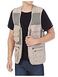 cheap -Mens Pockets Jacket Outdoors Travels Sports Vest Tops (Khaki, UK M =ASIA XL)