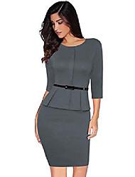 cheap -women's 1940s vintage strech 3/4 sleeve wear to work bodycon pencil dress size xxl (grey)