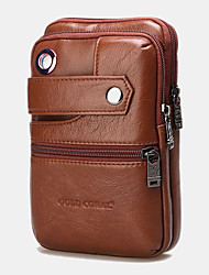 cheap -men genuine leather retro business double layers 6.5 inch phone bag waist bag with belt loop