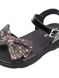 cheap -Girls' Flats Princess Shoes PU Little Kids(4-7ys) Big Kids(7years +) Daily Walking Shoes Bowknot Buckle Sequin Black Beige Summer / Color Block