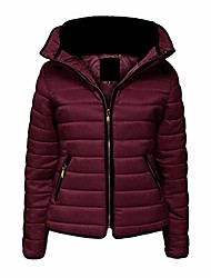 cheap -Women Fur Collar Quilted Padded Puffer Bubble Warm Thick Jacket Coat (Small (UK Size 8), Wine)