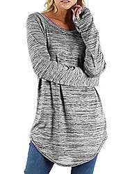 cheap -Women Mix Colour Long Sleeve T Shirt Crew Neck Casual Loose Tunic Top Blouse Gray