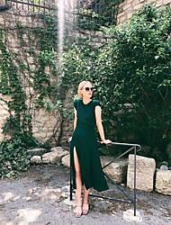 cheap -Sheath / Column Beautiful Back Minimalist Holiday Party Wear Dress Jewel Neck Sleeveless Ankle Length Chiffon with Sleek Split 2021