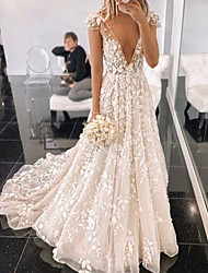 cheap -A-Line Wedding Dresses V Neck Sweep / Brush Train Lace Tulle Sleeveless Country Sexy with Appliques 2021