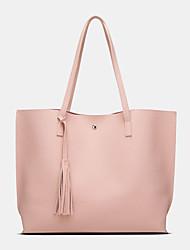cheap -women pu leather lychee pattern large capacity casual tassel solid tote shoulder bag handbag