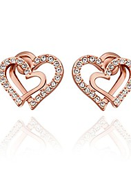 cheap -Women's 18k White/Gold Plated Double Love Heart Shaped For Promise Gift Earring Stud For Lover with Sparkling Diamond Cubic Zirconia Elements (18ct Rose Gold)