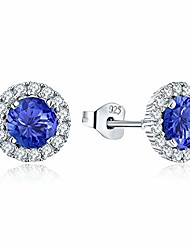 cheap -women earrings,silver zirconia december birthstone tanzanite color stud earrings with white gold plated,jewellery for women