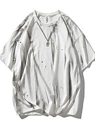 cheap -Men's T shirt Other Prints Tie Dye Graphic Prints Print Short Sleeve Daily Tops 100% Cotton Casual Beach White Black