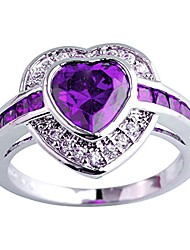 cheap -women's 925 sterling silver plated heart shape created amethyst and white topaz halo ring size 13