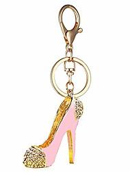 cheap -fashion lady's high heel shoe rhinestone alloy women bag or car keychain (pink)