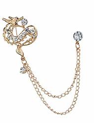 cheap -Men's Crystal Rhinestone Dragon Hanging Chain Brooch Pin Tassels - Golden