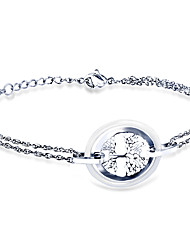 cheap -Women's Clear Bracelet Geometrical Heart Stylish Simple Titanium Steel Bracelet Jewelry Black / Silver For Daily Promise