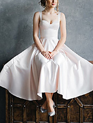 cheap -A-Line Wedding Dresses V Neck Ankle Length Italy Satin Sleeveless Simple Vintage Little White Dress with Pleats 2021