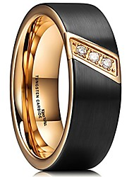 cheap -GEM 8mm Black Tungsten Carbide Ring 18K Rose Gold Plated CZ Stone Inlay Wedding Band for Men(8.5)